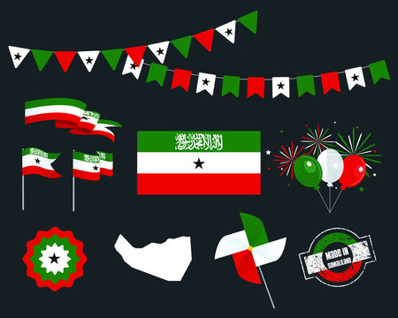 National holiday. Independence Day Somaliland set of vector design elements, Made in Somaliland. Map, flags, ribbons, turntables, sockets. Vector symbolism, set for your info graphics