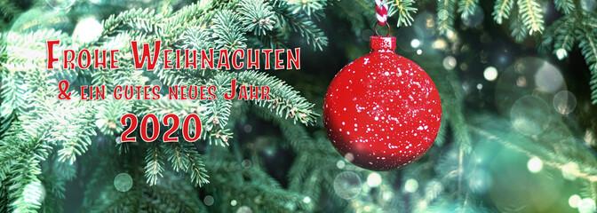 Weihnachten Hintergrund Banner mit Text - Deutscher Text - Frohe Weihnachten - Neujahr 2020