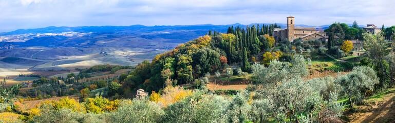 Wonderful scenic landscape of Tuscany. Montalcino - famous wine region in Italy