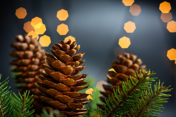Pinecones and fir tree in festive Christmas environment