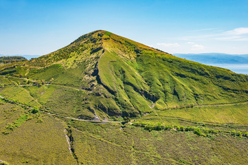 Top of mountain at summer time. Volcano island. Italy.