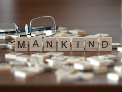 mankind the word or concept represented by wooden letter tiles