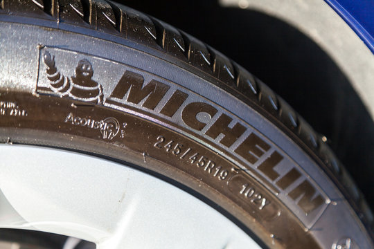 FUERTH / GERMANY - MARCH 4, 2018: Michelin logo on a tire. Michelin is a French tyre manufacturer based in Clermont-Ferrand in the Auvergne région of France.