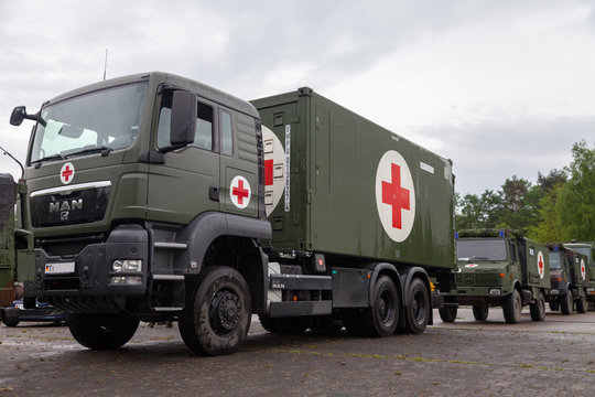 MUNSTER / GERMANY - MAY 2012: german rescue center system on trucks stands on plate on may 2012 in munster, germany.