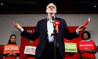 Britain's opposition Labour Party leader Jeremy Corbyn speaks during a final general election campaign event in London