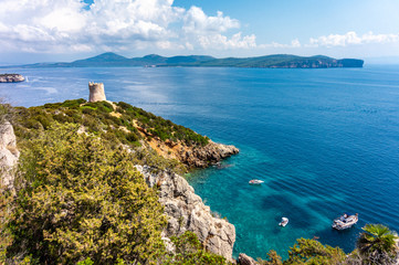 View on Torre del Bollo in Regional Natural Park Porto Conte (Sardinia, Italy, popular travel destination in Europe)