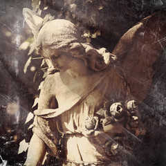 Wall Mural - Retro styled image of sad angel of death. Pain, sadness and end of life concept.