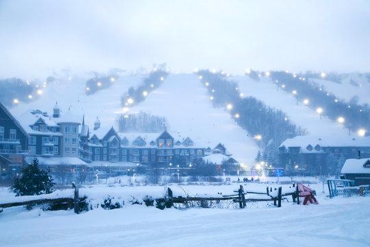 Blue Mountain Village in winter time, Ontario, Canada