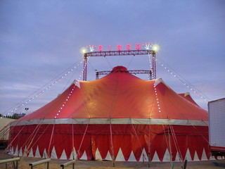red and white striped circus tent