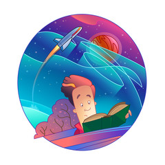 Vector illustration. A guy reads a book and thinks about space travel