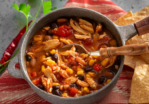 Homemade Taco Chicken Soup in a rustic pot