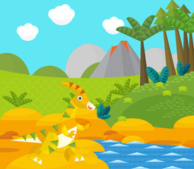 Papiers peints Riviere, lac Cartoon happy dinosaur near some river and volcano - illustration for children