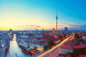 Tuinposter Berlijn Skyline Of Berlin in the evening