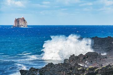 Waves by Stromboli island. Lipari islands. Italy.