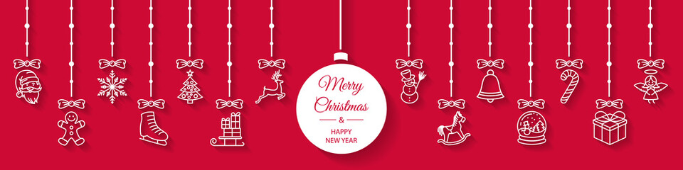 Wall Mural - Merry christmas banner with hanging christmas icons. Christmas greeting card vector background