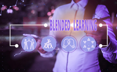 Writing note showing Blended Learning. Business concept for combines traditional classroom lessons with online teaching