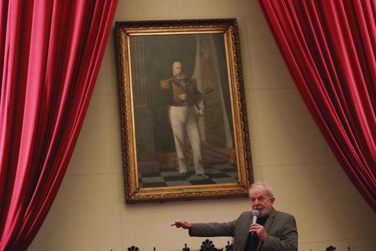 "Former Brazilian President Luiz Inacio Lula da Silva speaks during launch of the book ""Lawfare"", written by his lawyers, at University of Sao Paulo Law School in Sao Paulo"