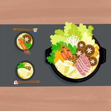 お鍋,鍋,寄せ鍋,日本,料理,鍋料理,しゃぶしゃぶ,食卓,お箸,手書き
