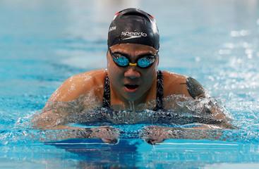 Singapore Paralympian Theresa Goh swims at the OCBC Aquatic Centre, Singapore Sports Hub