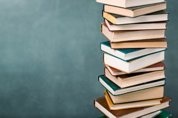 Stack of books, education and learning concept