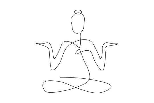 continuous line drawing of women fitness yoga concept. health illustration.