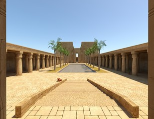 Egyptian Palace 3D Illustration Fantasy Old Kingdom