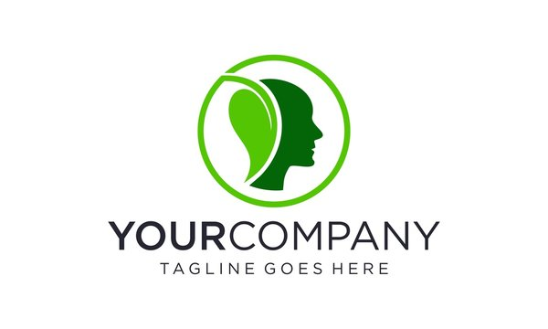 Natural green mind logo designs concept