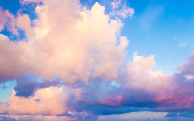 Fantastic view with beauty colorful of dramatic sky and clouds in the evening