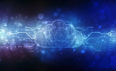 2d illustration of  Cloud computing, Cloud Computing Concept, Cloud computing technology internet concept background