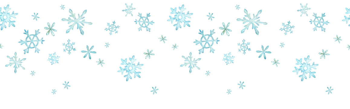Seamless header with blue snowflakes. Watercolor seamless winter border with snow.