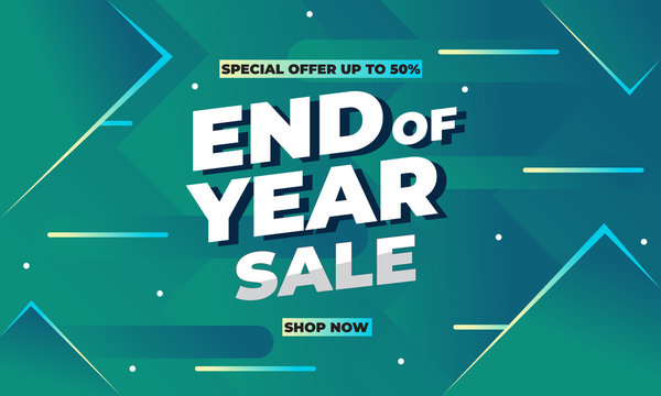 Year end sale Template Design for Advertising text, banner, presentation, promotion banner, social media campaign post. Vector Illustration