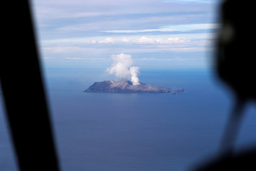 An aerial view of the Whakaari, also known as White Island volcano, in New Zealand