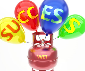 Obraz Wit and success - pictured as word Wit on a fuel tank and balloons, to symbolize that Wit achieve success and happiness, 3d illustration - fototapety do salonu