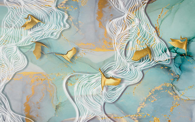 Colored marble background, white waves, golden abstract birds
