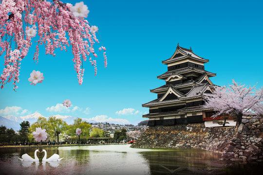 Matsumoto Castle in nagano. Japan world famous, Women wearing yukata.