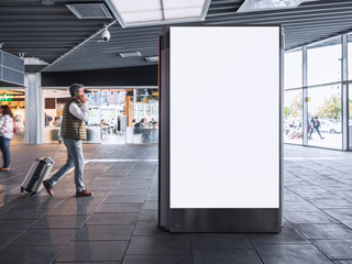 Mock up Banner light box Media Advertising in Train station with People traveling