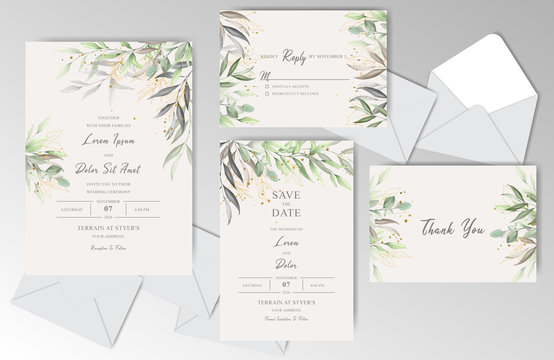 Elegant Watercolor Wedding Stationary with Beautiful Leaves