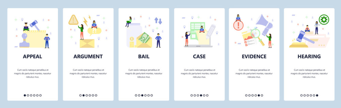 Mobile app onboarding screens. Court appeal, money bail, legal case, evidence, hearing, lawyer. Menu vector banner template for website and mobile development. Web site design flat illustration