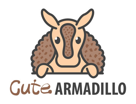 Logo template with cute curious armadillo. Vector logo design template for zoo, veterinary clinics, etc. Cartoon animal logo illustration.