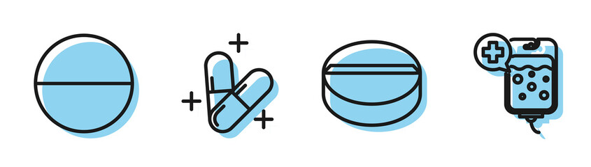 Set line Medicine pill or tablet, Medicine pill or tablet, Medicine pill or tablet and IV bag icon. Vector