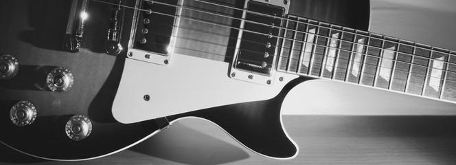 vintage electric guitar closeup with copy space