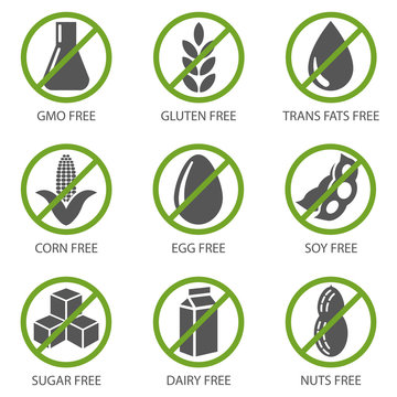 Set of food diet labels of GMO-free, sugar-free and allergen-free products. Ecological food for a healthy lifestyle. Vector illustration isolated on white background for design and web.