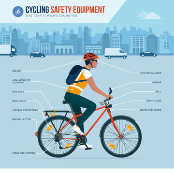 Cycling safety equipment infographic