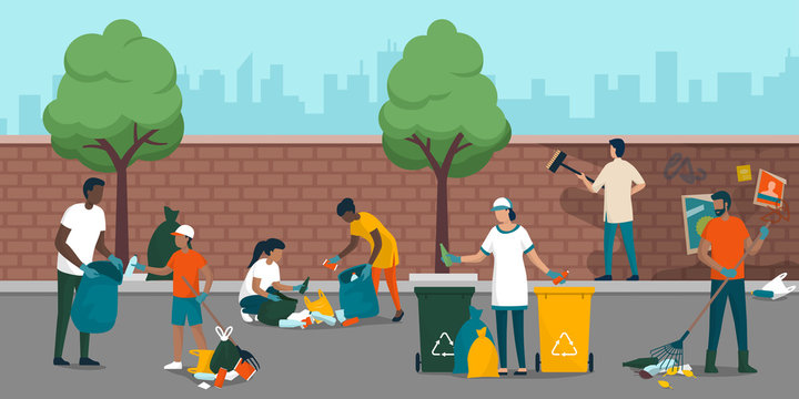Young people cleaning up a city street together