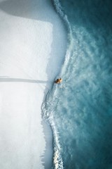 Aerial view of man on beach