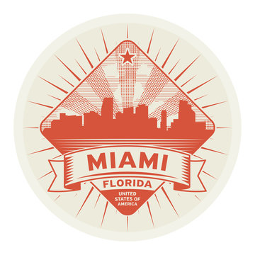 Stamp or label with name of Miami, Florida