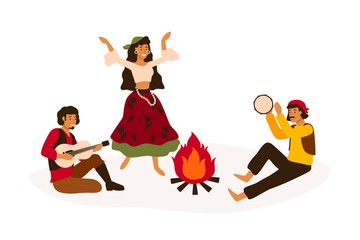 Papiers peints Style Boho Gypsy traditional entertainment flat vector illustration. Romani people dancing and playing folk musical instruments isolated on white. Men and women in national costumes cartoon characters.