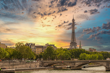 Paris Gorgeous Sunset with Eiffel Tower in Background