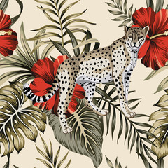 Tropical vintage red hibiscus flower, leopard floral green palm leaves seamless pattern beige background. Exotic jungle wallpaper.