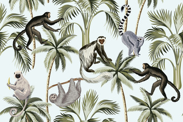 Tropical vintage monkey, sloth, lemur,   palm trees floral seamless pattern blue background. Exotic jungle wallpaper.